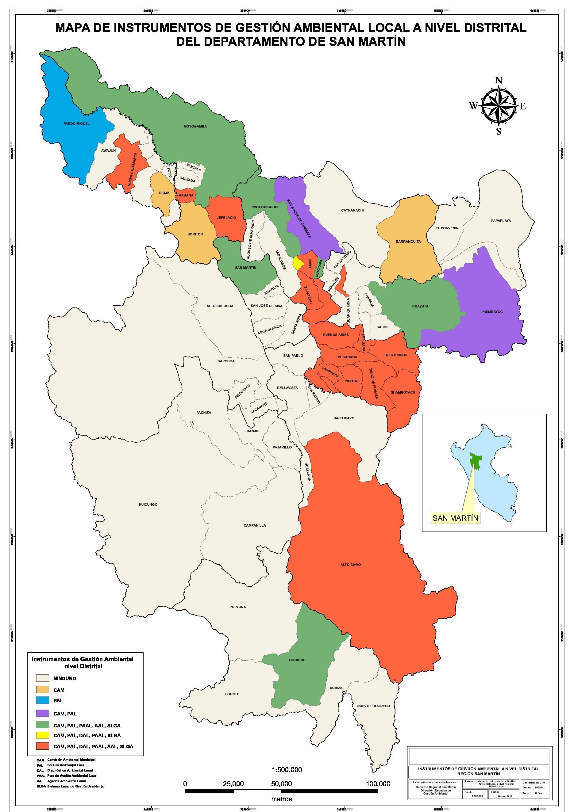 Mapa De Instrumentos De Gestion Ambiental Local A Nivel Distrital